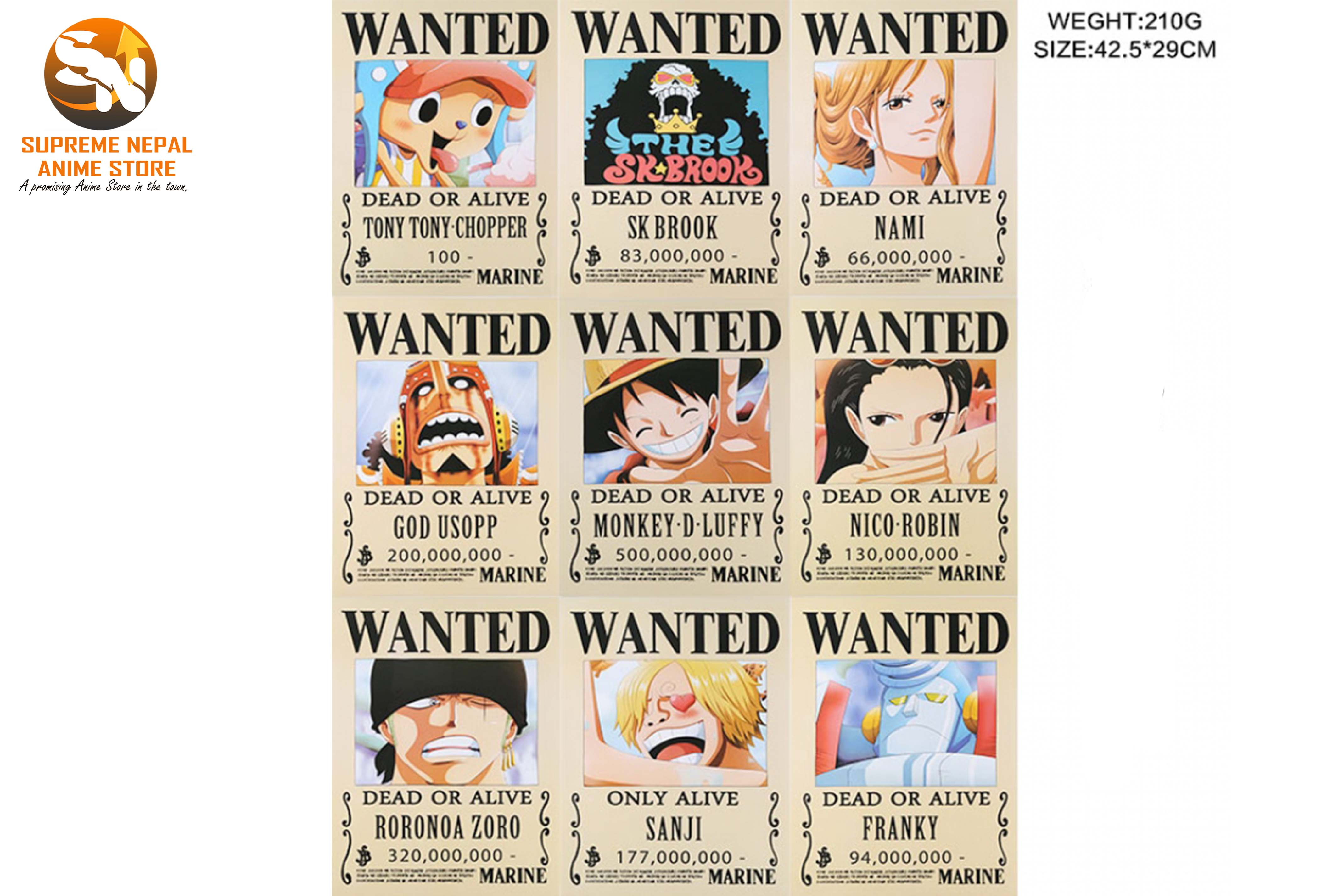 One Piece Wanted Poster 8 Pcs A Set Anime Store